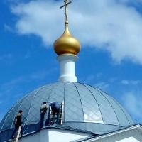 Установлен новый купол с подкупольным барабаном на храм Архангела Михаила Русской Православной церкви в городском поселении Кубинка Одинцовского район